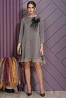 Женское осеннее трикотажное серое нарядное платье Alani Collection 1512 48р.