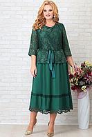 Женское осеннее шифоновое зеленое нарядное большого размера платье Aira Style 854 62р.