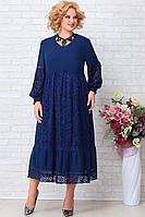 Женское осеннее шифоновое синее нарядное большого размера платье Aira Style 849 60р.