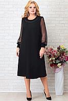 Женское осеннее шифоновое черное большого размера платье Aira Style 859 56р.