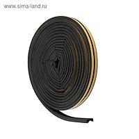 Уплотнитель для окон и дверей UBL010P P-профиль (резиновый) на клейкой основе, цвет черный,