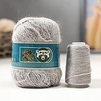 """Пряжа """"Mink wool"""" 90% пух норки,10% полиамид 350м/50гр + нитки (802 св-сер меланж)"""