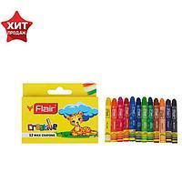 Мелки восковые 12 цветов FLAIR CREATIVE круглые, мини 5,7 х 0,7 см, картон, европодвес