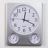 Часы настенные 'Арени', с термометром и гигрометром, дискретный ход, 1 АА, d32.5, 40х46 см 703017