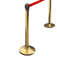 Напольная стойка-ограждение с выдвижной лентой цвет золото