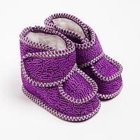Пинетки детские меховые, цвет фиолетовый/штрих, размер 19,5
