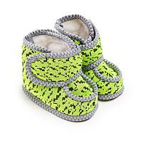 Пинетки детские меховые, цвет зелёный/штрих, размер 22,5