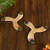 Сувенир 'Бумеранг тройной с точечной росписью' 23х23х1 см