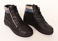 Ботинки женские, кожаные. Цвет черный.