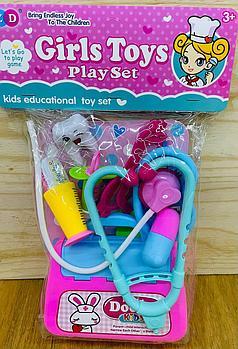 ZD893-330A Girls toys мед набор с чемоданом в пакете 32*18см