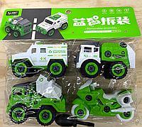 666-23 Removable assembly спец машина 4в1 зеленая и белая в пакете 28*27см