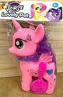 088A My little horse Пони единорог резиновый+расческа муз в пакете 31*19см