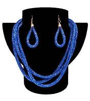 Комплект ожерелье тройное и серьги «Звездная пыль» (Синий)