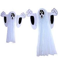 Привидение-призрак бумажное белое подвесное 1шт