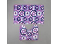 Коврик для ванной Доляна Фиолетовые цветы 1019713 2 предмета