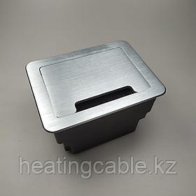 Настольный бокс на 8 модулей (4 розетки 220v), серебро, встраиваемая розетка в стол