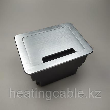 Настольный бокс на 8 модулей (4 розетки 220v), серебро, встраиваемая розетка в стол, фото 2