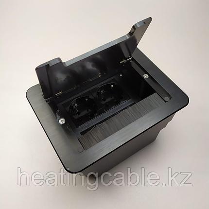 Настольный бокс на 8 модулей (4 розетки 220v), черный, встраиваемая розетка в стол, фото 2