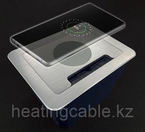 Настольный бокс на 8 модулей (4 розетки 220v), серебристый,с беспроводной зарядкой встраиваемая розетка в стол, фото 2