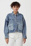 Укороченная джинсовая куртка Finn Flare, цвет голубой, размер XS