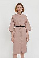 Платье-рубашка из хлопка и льна Finn Flare, цвет коричневый, размер XL