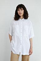 Однотонная рубашка оверсайз Finn Flare, цвет белый, размер M