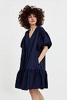 Хлопковое платье с объемными рукавами Finn Flare, цвет темно-синий, размер S