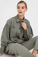 Блузка джинсовая женская Finn Flare, цвет cement (серо-зеленый), размер XL