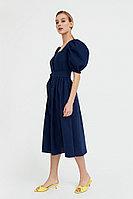 Платье-миди изо льна и хлопка Finn Flare, цвет темно-синий, размер XS