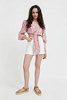 Короткая блуза с цветочным принтом Finn Flare, цвет пепельно-розовый, размер 2XS