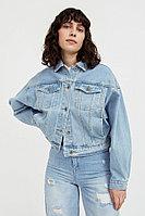 Укороченная джинсовая куртка с объемными рукавами Finn Flare, цвет голубой, размер XL