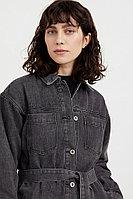 Джинсовая куртка-рубашка с поясом Finn Flare, цвет черный, размер XS