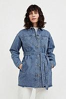 Джинсовая куртка-рубашка с поясом Finn Flare, цвет голубой, размер S