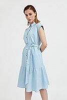 Платье-рубашка из натурального хлопка и льна Finn Flare, цвет светло-голубой, размер XS