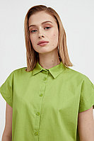 Хлопковая рубашка с короткими рукавами Finn Flare, цвет зеленый, размер 2XL