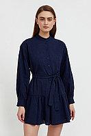 Платье-мини из натурального хлопка Finn Flare, цвет темно-синий, размер 2XS