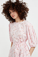 Хлопковое платье с поясом Finn Flare, цвет бледно-розовый, размер XL
