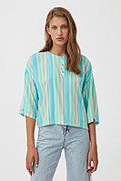 Блузка с полосатым принтом Finn Flare, цвет бирюзовый, размер XL