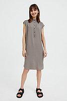 Платье прямого кроя с отложным воротником Finn Flare, цвет светло-коричневый, размер M