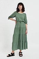 Платье в горох из вискозы Finn Flare, цвет темно-зеленый, размер XS