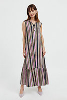 Полосатое платье с воланами Finn Flare, цвет светло-коричневый, размер L