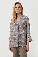 Блуза с цветочным узором Finn Flare, цвет светло-коричневый, размер 2XL