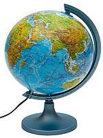 Глобус с подсветкой физико-политический. Диаметр 32 см.