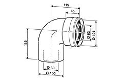 Колено угловое DN 60/100 mm, 90˚, для настенных котлов Logamax