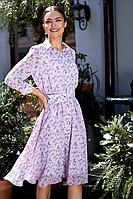 Женское осеннее розовое нарядное платье Gizart 7529-2а 46р.