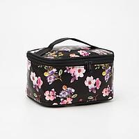 Косметичка-сумочка, отдел на молнии, с зеркалом, цвет чёрный