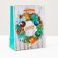 Пакет подарочный 'Новогодний венок', 11,5 х 14,5 х 6,5 см (комплект из 12 шт.)