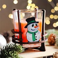 Свеча ароматическая в стакане на подставке 'Снеговик', 10х9,5х9 см, апельсин