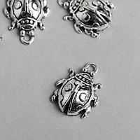 Декор металл для творчества 'Божья коровка' серебро 2894 2х1,6 см (комплект из 12 шт.)