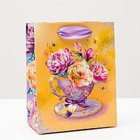 Пакет подарочный 'Яркие цветы', 11,5 х 14,5 х 6,5 см (комплект из 6 шт.)